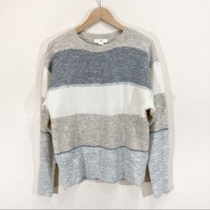 H&M Wool Striped Sweater Beige Grey Knit Oversized Loose Small